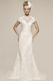 wedding dress, high collar