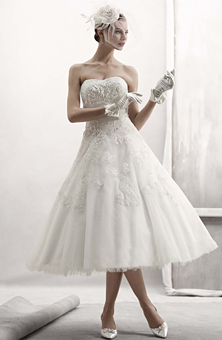 tea legnth wedding dress, short wedding dress, raymond lee jewelers