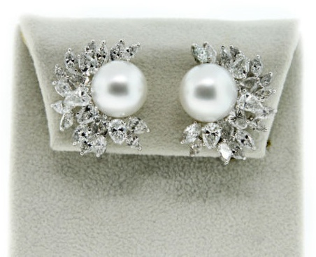 diamond, pearl, earrings, raymond lee jewelers